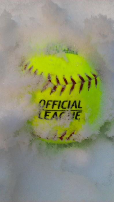softball in snow